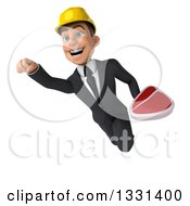 Clipart Of A 3d Young White Male Architect Flying With A Beef Steak Royalty Free Illustration