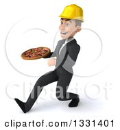 Clipart Of A 3d Young White Male Architect Speed Walking To The Left With A Pizza Royalty Free Illustration