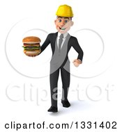 Clipart Of A 3d Young White Male Architect Walking And Holding A Double Cheeseburger Royalty Free Illustration