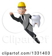 Clipart Of A 3d Young White Male Architect Flying With A Tooth Royalty Free Illustration