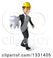 Clipart Of A 3d Young White Male Architect Walking To The Right And Holding A Tooth Royalty Free Illustration