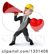 Clipart Of A 3d Young White Male Architect Holding A Heart And Announcing To The Left Royalty Free Illustration
