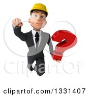 Clipart Of A 3d Young White Male Architect Flying With A Question Mark Royalty Free Illustration
