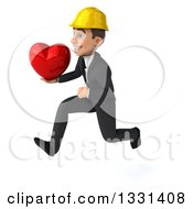 Clipart Of A 3d Young White Male Architect Sprinting To The Left And Holding A Heart Royalty Free Illustration