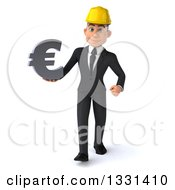 Clipart Of A 3d Young White Male Architect Walking And Holding A Euro Symbol Royalty Free Illustration