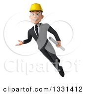 Clipart Of A 3d Young White Male Architect Holding Blueprints Flying And Presenting Royalty Free Illustration