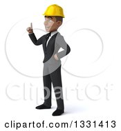 Clipart Of A 3d Young Black Male Architect Facing Left And Holding Up A Finger Royalty Free Illustration by Julos