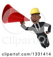 Clipart Of A 3d Young Black Male Architect Flying And Announcing With A Megaphone Royalty Free Illustration by Julos