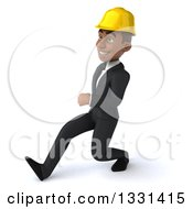 Clipart Of A 3d Young Black Male Architect Speed Walking To The Left Royalty Free Illustration by Julos