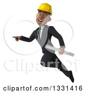 Clipart Of A 3d Young Black Male Architect Flying Pointing To The Left And Holding Blueprints Royalty Free Illustration by Julos