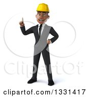 Clipart Of A 3d Young Black Male Architect Holding Up A Finger Royalty Free Illustration by Julos