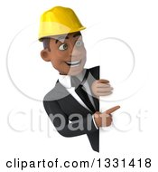 Clipart Of A 3d Young Black Male Architect Pointing And Looking Around A Sign Royalty Free Illustration by Julos