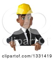 Clipart Of A 3d Young Black Male Architect Giving A Thumb Down Over A Sign Royalty Free Illustration by Julos