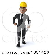 Clipart Of A 3d Young Black Male Architect Walking With Blueprints Royalty Free Illustration by Julos