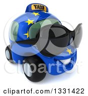 Clipart Of A 3d European Taxi Cab Character Wearing Shades And Facing Slightly Right Royalty Free Illustration by Julos