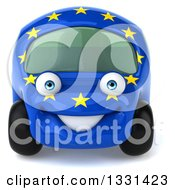 Clipart Of A 3d European Car Character Royalty Free Illustration