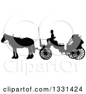 Clipart Of A Black Silhouetted Coachman Sitting On A Horse Drawn Buggy Carriage In Profile Royalty Free Vector Illustration