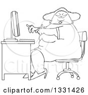 Cartoon Black And White Chubby African American Woman Wearing Glasses And Working At A Computer Desk