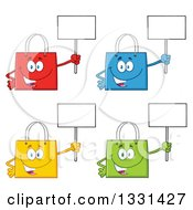 Clipart Of Cartoon Colorful Shopping Bag Characters Holding Up Blank Signs Royalty Free Vector Illustration by Hit Toon