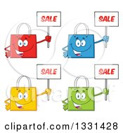 Clipart Of Cartoon Colorful Shopping Bag Characters Holding Up Sale Signs 2 Royalty Free Vector Illustration by Hit Toon