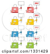 Clipart Of Cartoon Colorful Shopping Bag Characters Holding Up Blank And Sale Signs Royalty Free Vector Illustration by Hit Toon