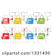 Clipart Of Cartoon Colorful Shopping Bag Characters Holding Up Blank And Sale Signs 2 Royalty Free Vector Illustration by Hit Toon