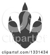 Clipart Of A Dark Gray Raptor Dinosaur Foot Print 2 Royalty Free Vector Illustration