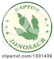 Clipart Of A Green Raptor Dinosaur Foot Print In A Circle With Text Royalty Free Vector Illustration