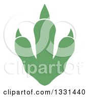 Clipart Of A Green Raptor Dinosaur Foot Print Royalty Free Vector Illustration by Hit Toon