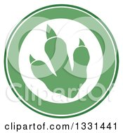 Clipart Of A Green Raptor Dinosaur Foot Print In A Circle Royalty Free Vector Illustration