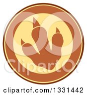 Clipart Of A Raptor Dinosaur Foot Print In A Yellow And Brown Circle Royalty Free Vector Illustration