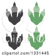Clipart Of Raptor Dinosaur Foot Prints Royalty Free Vector Illustration