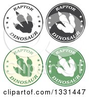 Clipart Of Raptor Dinosaur Foot Prints In Circles With Text Royalty Free Vector Illustration