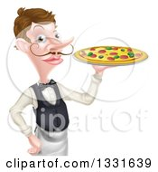 Clipart Of A Cartoon Caucasian Male Waiter With A Curling Mustache Holding A Pizza On A Tray Royalty Free Vector Illustration by AtStockIllustration