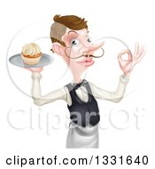 Cartoon Caucasian Male Waiter With A Curling Mustache Gesturing Ok And Holding A Cupcake On A Tray
