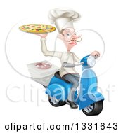 Clipart Of A Happy Pizza Delivery Chef With A Curling Mustache Holding Up A Pie On A Scooter Royalty Free Vector Illustration by AtStockIllustration