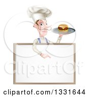 Clipart Of A White Male Chef With A Curling Mustache Holding A Cheeseburger On A Platter And Pointing Down Over A Blank Menu Sign Board Royalty Free Vector Illustration by AtStockIllustration