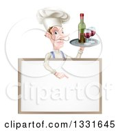 Clipart Of A White Male Chef With A Curling Mustache Pointing Down And Holding A Tray With Red Wine Over A Blank Menu Sign Board Royalty Free Vector Illustration