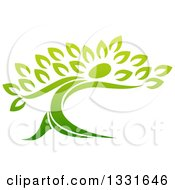 Clipart Of A Gradient Green Tree Man Royalty Free Vector Illustration