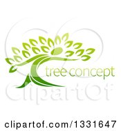 Clipart Of A Gradient Green Tree Man With Sample Text Royalty Free Vector Illustration by AtStockIllustration