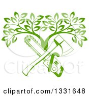 Clipart Of A Gradient Green Crossed Chainsaw And Axe And A Tree Royalty Free Vector Illustration