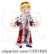 Clipart Of A Happy Brunette Caucasian King Giving Two Thumbs Up Royalty Free Vector Illustration by AtStockIllustration