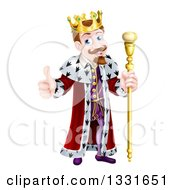 Clipart Of A Happy Brunette Caucasian King Giving A Thumb Up And Holding A Staff Royalty Free Vector Illustration by AtStockIllustration