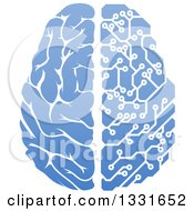 Clipart Of A Blue Half Human Half Artificial Intelligence Circuit Board Brain Royalty Free Vector Illustration