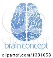 Blue Half Human Half Artificial Intelligence Circuit Board Brain Over Sample Text