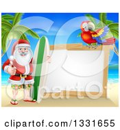 Clipart Of A Christmas Santa Claus Giving A Thumb Up And Standing With A Surf Board On A Tropical Beach By A Blank White Sign With A Parrot Royalty Free Vector Illustration