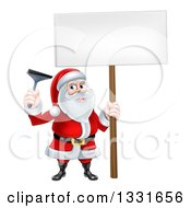 Christmas Santa Claus Holding A Window Cleaning Squeegee And Blank Sign