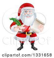Clipart Of Santa Claus Holding A Feather Pen And Scroll List Royalty Free Vector Illustration by AtStockIllustration