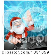 Clipart Of A Santa Claus Dj Mixing Christmas Music On A Turntable With People Dancing In The Background 2 Royalty Free Vector Illustration