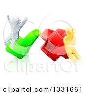 Clipart Of 3d Right And Wrong Silver And Gold Men Carrying And Cheering On X And Check Marks Royalty Free Vector Illustration